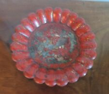 Antique Papier Mache Wine Coaster Red with Chinese Decoration 19th century Tray