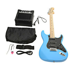 New 6 String Beginner Fire Electric Guitar with Black Fender Sky Blue 15w A