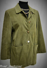 J. Jill car Coat long Jacket Button up Calf Suede Leather lined top olive VTG S