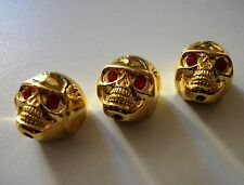 NEW 3 KNOBS METAL SKULL gold - bouton pour guitare Gibson, Epiphone,Fender...