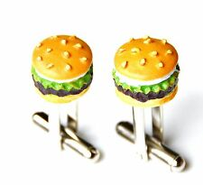 Hamburger Cufflinks - Business Gift - Christmas Present - Handmade - Gift Box