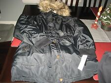 GIRLS DKNY WINTER FAUX FUR THICK WINTER DESIGNER JACKET BLACK SIZE L 14/16 NWT