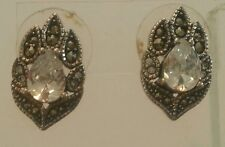 Kenneth Cole 925 Sterling Silver and Marcasite Earrings with CZ Stone's- nice