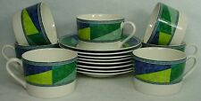 MIKASA china COLOR IMAGE HK230 pattern CUP & SAUCER Set of SEVEN (7)