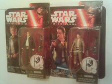 """Star Wars 3.75"""" Force Awakens HAN SOLO & REY (Resistance Outfit)  MOC"""