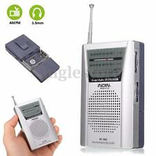 Pocket Telescopic Antenna Mini AM/FM 2-Band Radio World Receiver W/ Speaker Gift