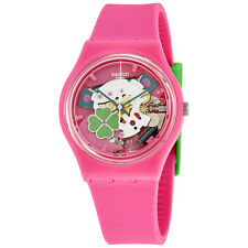 Swatch Flowerfull Pink Silicone Ladies Watch GP147
