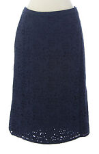 BODEN Women's Navy Blue Knee-Length Pencil Eyelet Skirt US Size 12 Long NEW