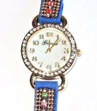 New Geneva Blue Snap Gold Multi Colored Rhinestone Watch