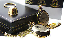 FIRE BRIGADE 24ct GOLD POCKET WATCH and Helmet FIREMAN FIRE & RESCUE FIREFIGHTER