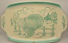 Bell Mfg - Sales Turkey Platter Farm Scene Thanksgiving Teal on White EUC