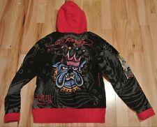Ed Hardy Superstar Green Skull Bulldog Crown Blue Black Red Hoodie Men's XXL