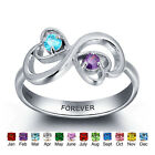 2 Birthstones Sterling Silver Engraved Name Rings Triple Hearts Infinity Ring