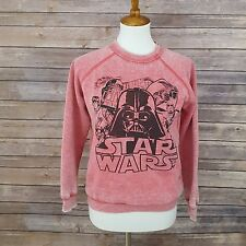 Star Wars Womens Medium Vintage Style Red Plush Crewneck Pullover Sweater