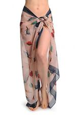 Colourful Birds On Light Pink With Blue Edge Unisex Scarf and Beach (SF000961)
