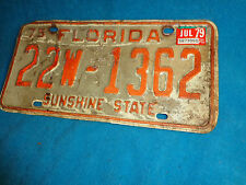 Vtg 1975 - 1979 State of FLORIDA Auto Car Automobile Metal License Plate Tag 362