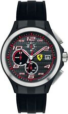 New Ferrari Men's Scuderia Lap Time Black Dial Black Silicone Watch 0830015