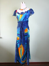 Vtg Retro 80s Fashion Ladies Blue Lace & Satin Scoop Maxi Long Dress sz L AV45