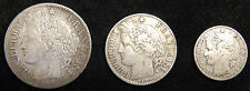 FRANCE Lot of 3 Silver Coins 2 francs 1887 A 1 Franc 1888 A 50 cent 1887 A SET
