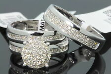10K WHITE GOLD .77 CARAT MEN WOMEN DIAMOND TRIO ENGAGEMENT WEDDING RING BAND SET