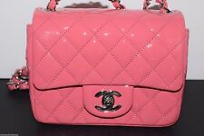 Chanel Mini Square Pink Patent Leather Timeless Classic Flap Bag NEW