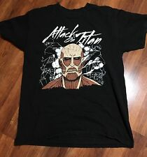 ATTACK ON TITAN Anime Manga Black T-Shirt Adult Size Medium Eren Yeager Ackerman