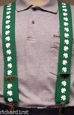 "Suspenders 2""x48"" FULLY Elastic Irish Shamrocks white on green NEW Made in USA"