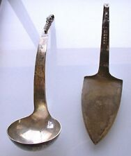 HEAVY OLD ANTIQUE STERLING SILVER .925 PURE ORNATE SOUP LADLE AND SERVER 360 Gr.