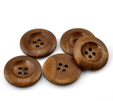 10 Chestnut coloured 4 hole Wooden Sewing Buttons 25mm Great Value