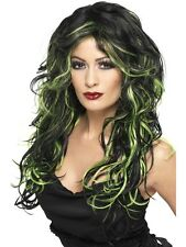 Gothic Bride Wig Black/Green Halloween Witch Wig Green 35827 Ladies Fancy Dress