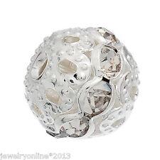 20 Metallperlen Rondelle Perlen Ball Beads Weiß Strass 9x10mm
