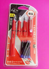 3 Nibs (M, F, EF) LUOSHI 359 Poly pack Fountain Pen Red With 6 Free Cartridges