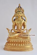 "Hand Carved 9.75"" Amitayus Buddha Copper Gold Gilded Antique Finish Statue Patan"