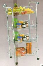 HQ KITCHEN DINNING 4 TIER CHROME METAL VEGETABLE FRUIT STORAGE RACK TROLLEY