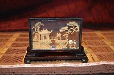 "Vintage SAN YOU Chinese Cork Sculpture in Glass & Black Lacquer 5 3/4""x4 1/4"""