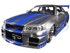 "BRIAN'S NISSAN SKYLINE GTR R34 ""FAST & FURIOUS "" MOVIE 1/24 BY JADA 97158"