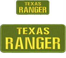 TEXAS RANGER embroidery Patches 4x10 and 2x5 hook ON BACK gold green