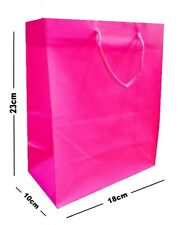 10 x PINK MATT LAMINATED PARTY GIFT BAGS - LUXURY BIRTHDAY PRESENT MEDIUM BAG