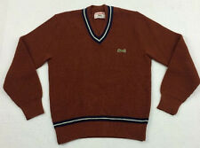 vtg 80s CAMPUS x LE TIGRE mens TENNIS cricket v-neck pullover acrylic SWEATER M