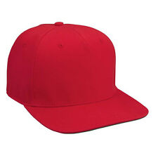 12 (1DZ)  Red Hip Hop Flat Bill Baseball Hats w/Green Undervisor QUICK SHIP.