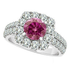1.98 Carat Pink VS Round Diamond Solitaire Wedding Bridal Ring 14K WG ASAAR DEAL