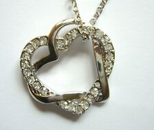 Collier Pendentif Double Coeur strass