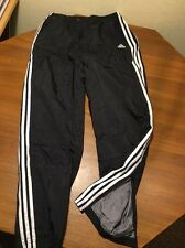 ADIDAS FLANNEL LINED TRACK PANTS BLACK NYLON Sweatpants Mens XL
