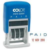 Self-Inking Paid Dater Colop S160 Rubber Stamp PAID