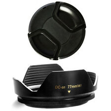 77mm Wide Flower Lens Hood and Lens Cap for Nikon AF 80-400mm f/4.5-5.6D ED VR