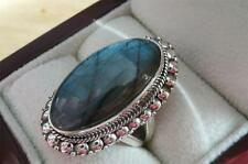 LARGE OVAL CABOCHON BLUE/GREEN LABRADORITE 925 STERLING SILVER RING SZ R 9