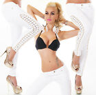 Sexy New Women's White Stretchy Jeans Trousers Skinny With Side Straps M 516