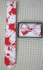 Blood Splattered Paint Ball Adjustable Bow Tie & Blood Spattered Neck Tie-New!
