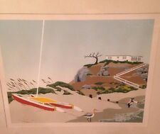 Vintage 70's Large Mod Beach Painting Gary W Adams Red Boat and Birds