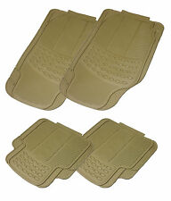 Heavy Duty 4 Piece BEIGE/ Brown Rubber Rubberised Car Floor Mats Sets
